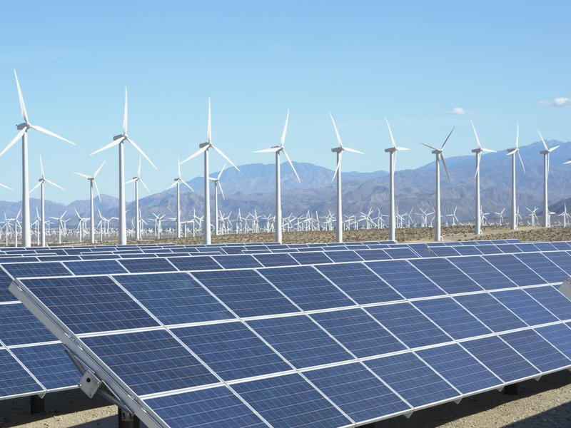 Photovoltaic solar panels and wind turbines, San Gorgonio Pass Wind ...