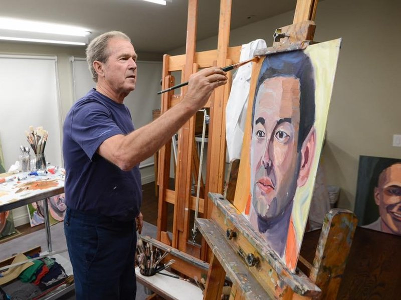 george w bush displays portraits of military veterans