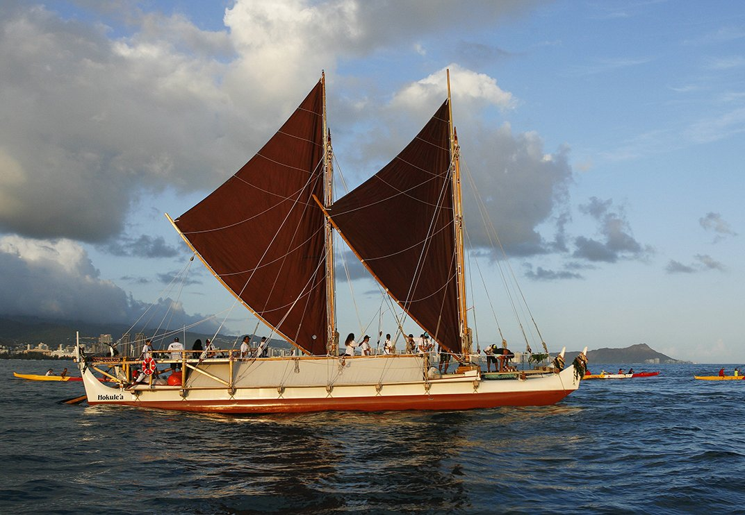For four years this polynesian canoe will sail around the for The big canoe